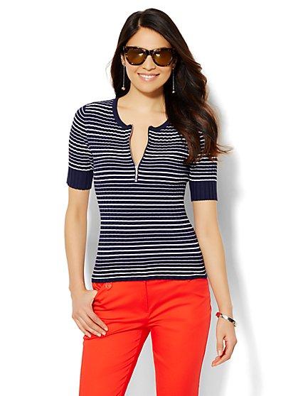 Ribbed Scoopneck Sweater - Stripe  - New York & Company