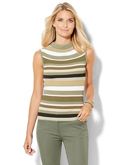 Ribbed-Sweater Mock-Neck Shell - Stripe  - New York & Company
