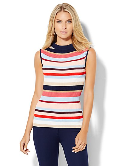 Ribbed-Sweater Mock-Neck Shell - Stripe  - New York & Company