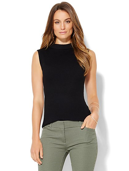 Ribbed-Sweater Mock-Neck Shell  - New York & Company