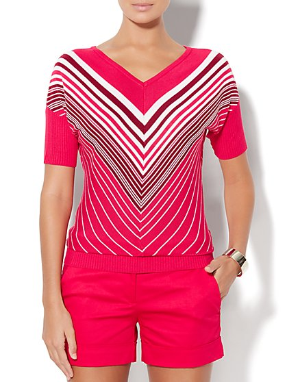 Ribbed-Trim Dolman Sweater - Chevron Stripe  - New York & Company