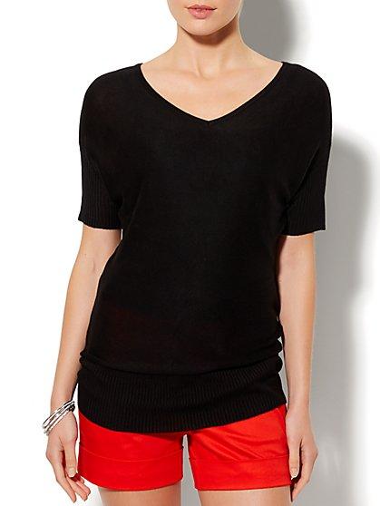 Ribbed-Trim Dolman Sweater  - New York & Company