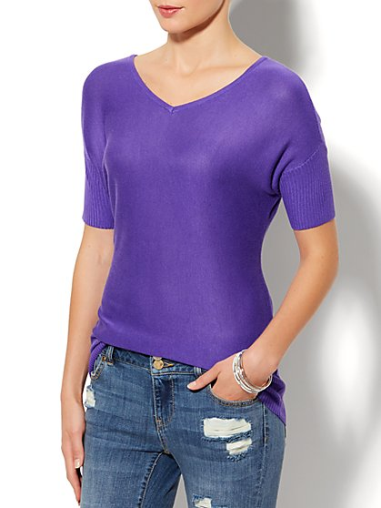 Ribbed-Trim Dolman Sweater  - New York & Company