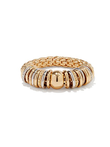 Ring Charm Golden Stretch Bracelet  - New York & Company