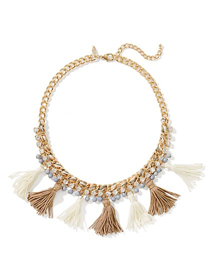 Rope-Chain Tassels Necklace - New York & Company