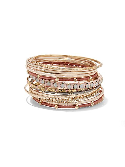 Rose Gold-Hued Bangle Set  - New York & Company