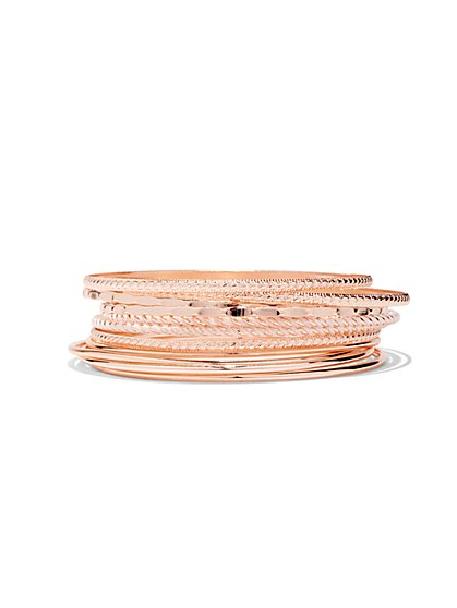 Rose Goldtone 11-Piece Bangle Set  - New York & Company