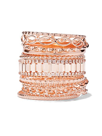 Rose Goldtone 17-Piece Bangle Set  - New York & Company