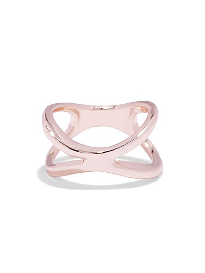 Rose Goldtone Crisscross Ring  - New York & Company