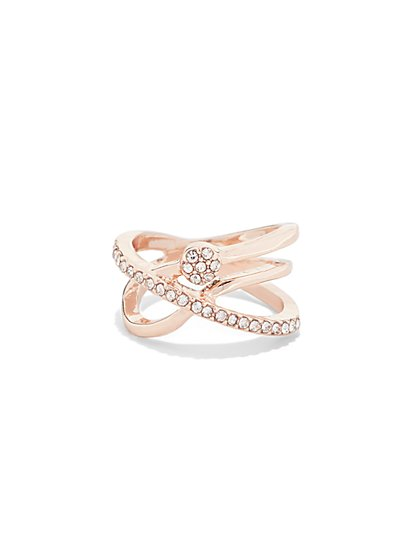 Rose Goldtone Pavé Ring  - New York & Company