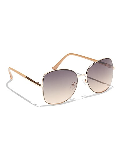 Rose Goldtone Square Sunglasses  - New York & Company