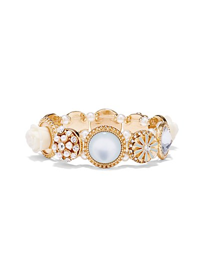 Rose & Pearl Stretch Bracelet  - New York & Company