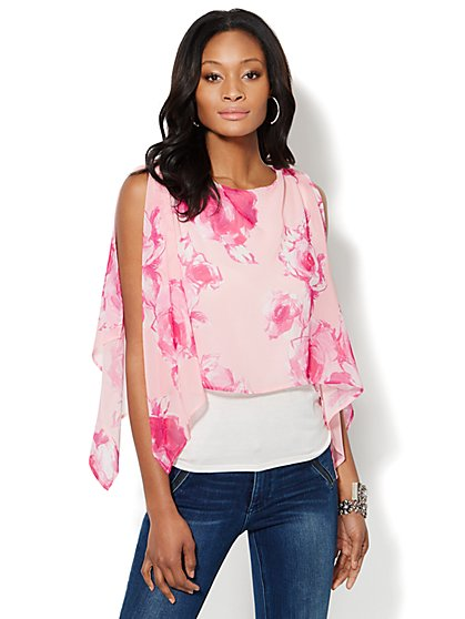 Rose-Print Chiffon Overlay Top  - New York & Company