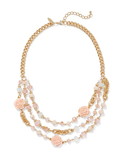 Rosette Chain-Link Bib Necklace  - New York & Company