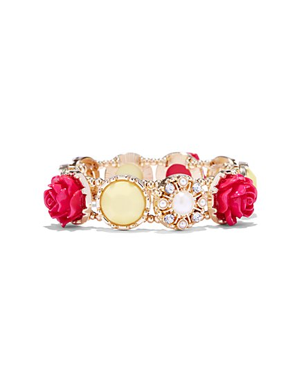 Rosette Goldtone Stretch Bracelet  - New York & Company