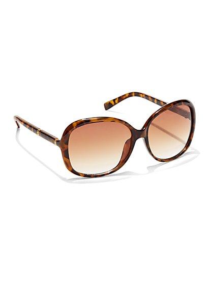 Round Faux-Tortoiseshell Sunglasses - New York & Company