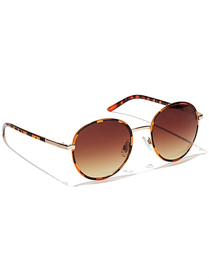 Round-Frame Faux-Tortoise Sunglasses  - New York & Company