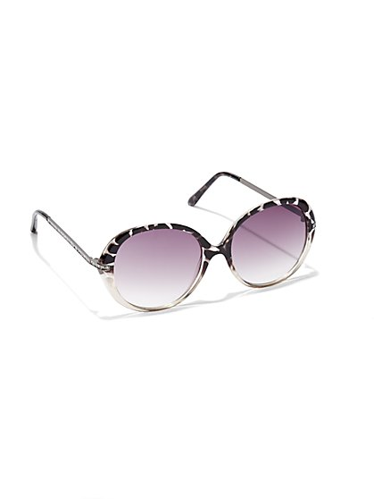 Round Marbleized Sunglasses  - New York & Company