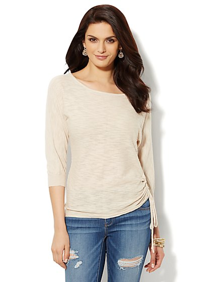 Ruched Dolman-Sleeve Sweater  - New York & Company