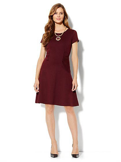 Ruched-Panel Flare Dress