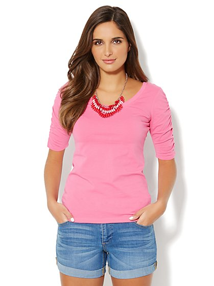 Ruched-Sleeve Knit Top