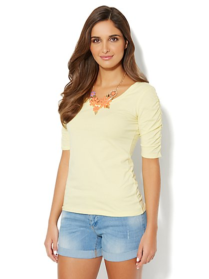 Ruched-Sleeve Knit Top - New York & Company