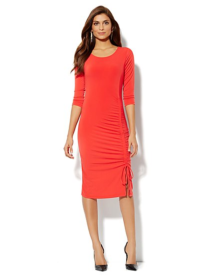 Ruched Stretch-Knit Dress