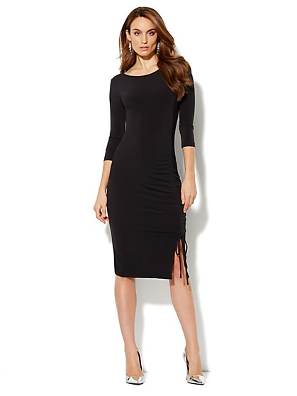 Ruched Stretch-Knit Midi Dress - New York & Company