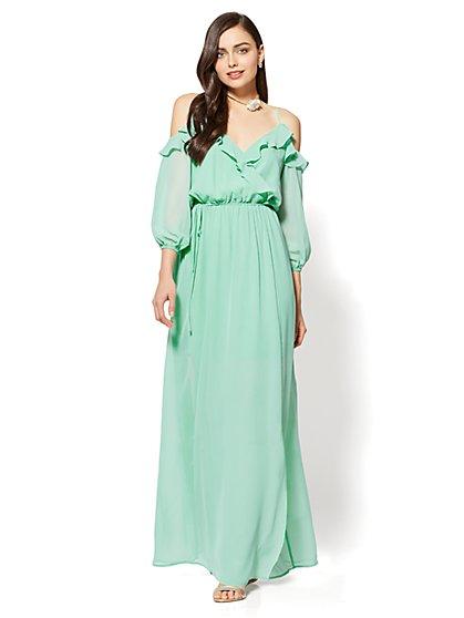 Ruffle Bare-Shoulder Maxi Dress - New York & Company