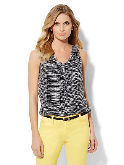 Ruffle Chiffon Overlay Top - Polka-Dot  - New York & Company