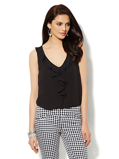 Ruffle Chiffon Overlay Top - Solid  - New York & Company