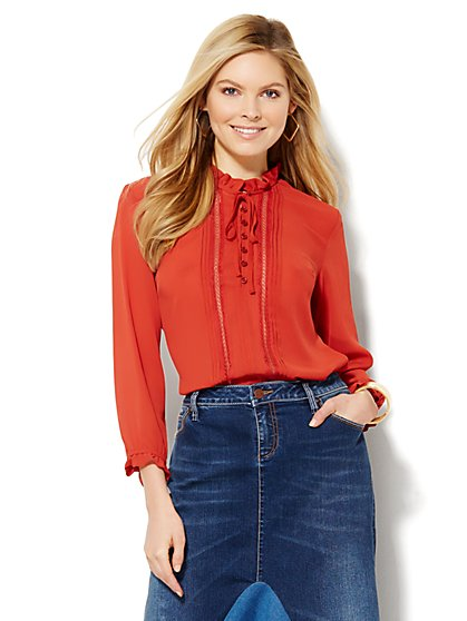 Ruffle-Front Blouse - Petite   - New York & Company