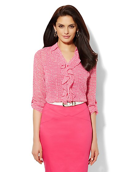 Ruffle-Front Blouse - Polka-Dot  - New York & Company