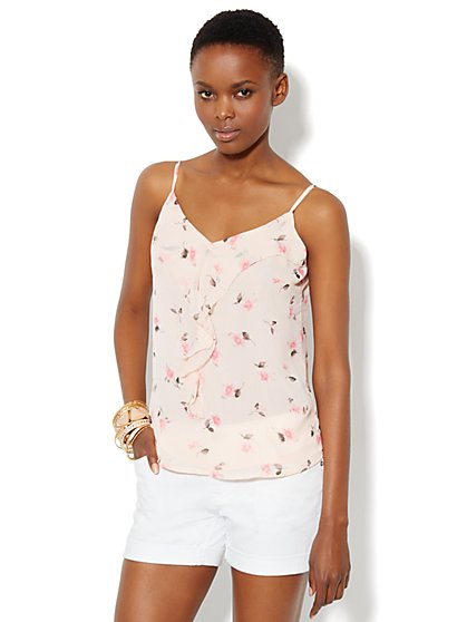Ruffle-Front Floral Camisole
