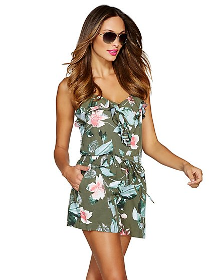 Ruffle-Front Floral Romper