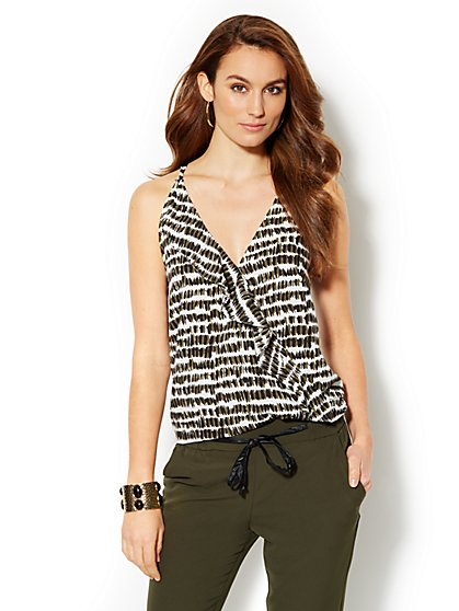 Ruffle-Front Print Camisole - New York & Company