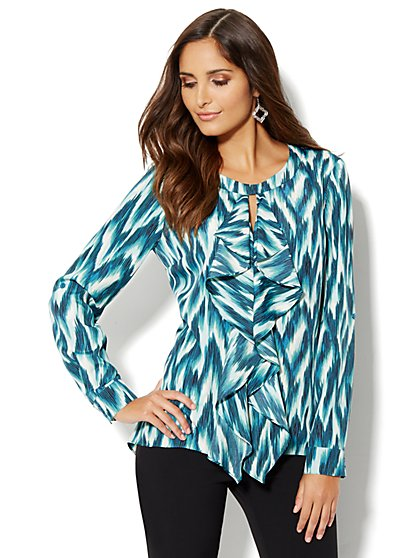 Ruffle-Front Printed Blouse - New York & Company