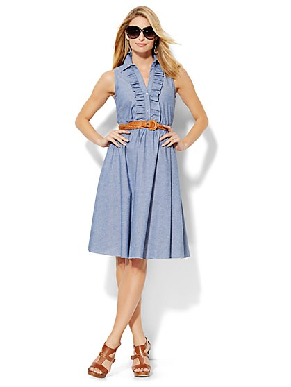 Ruffle-Front Shirtdress - Gentle Blue Wash  - New York & Company