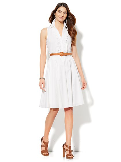 Ruffle-Front Shirtdress - Solid  - New York & Company
