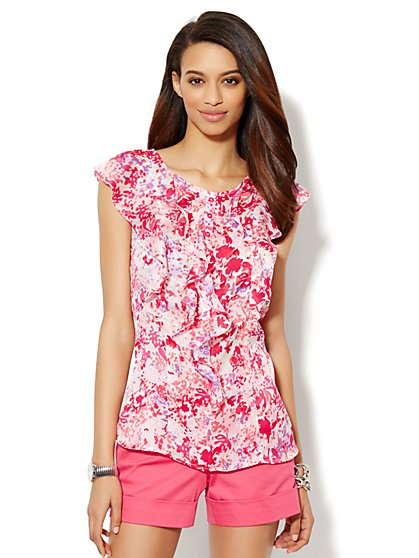 Ruffle-Front Top - Abstract Floral