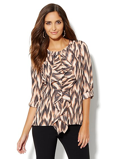 Ruffle-Front Tunic Blouse - New York & Company
