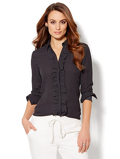 Ruffle-Trim Blouse - Dot Print - New York & Company