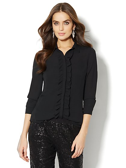 Ruffle-Trim Blouse - Solid - New York & Company