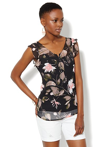 Ruffle-Trim Floral Top