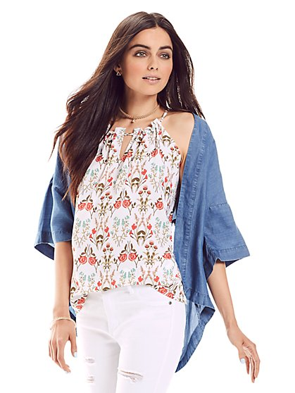 Ruffle-Trim Keyhole Halter Blouse - Floral  - New York & Company