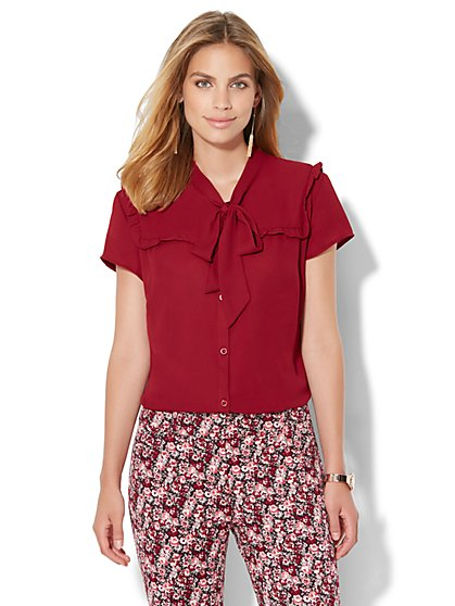 Ruffled Bow Blouse  - New York & Company
