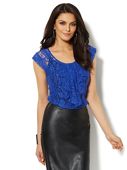 Ruffled Cap-Sleeve Lace T-Shirt   - New York & Company