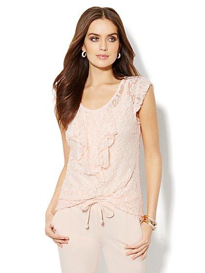 Ruffled Cap-Sleeve Lace T-Shirt   - New York & Company