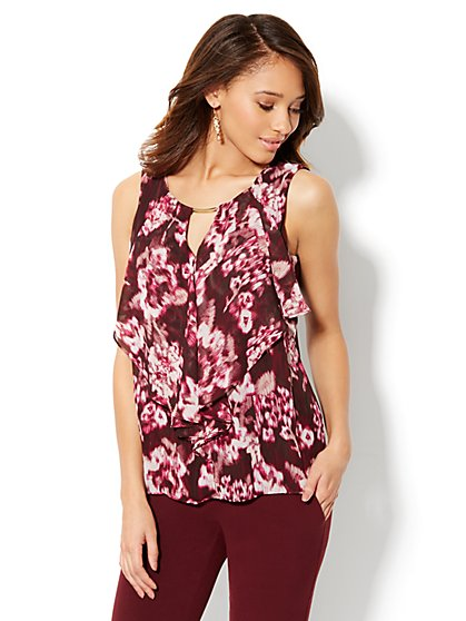 Ruffled Chiffon Sleeveless Top - Print - New York & Company