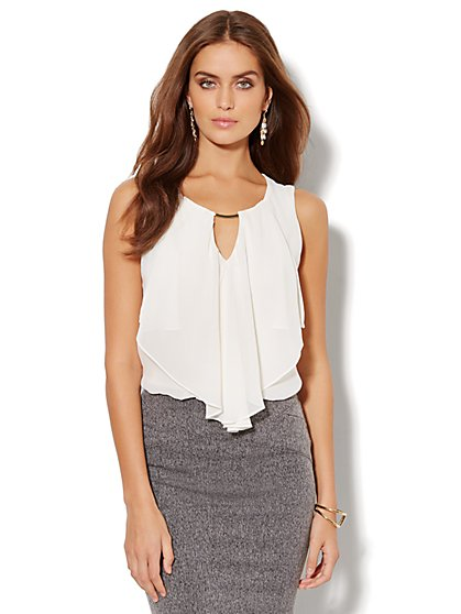 Ruffled Chiffon Sleeveless Top - New York & Company